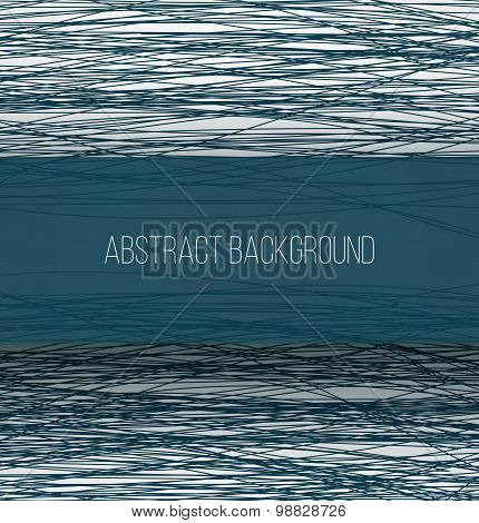 Abstract blue chaotic sketch lines background and rectangle banner with shadow