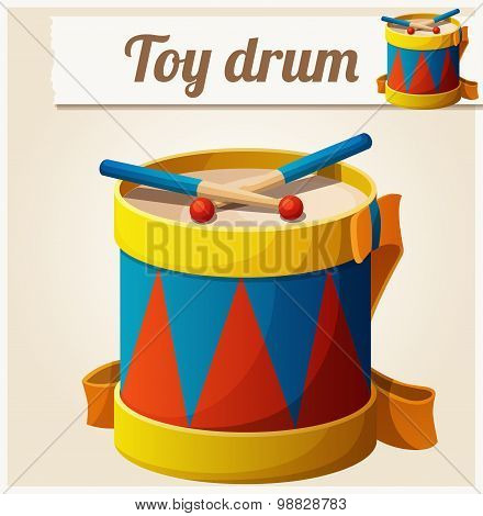 Vintage toy drum. Cartoon vector illustration. Series of children's toys