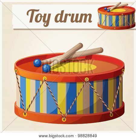 Vintage toy drum 2. Cartoon vector illustration. Series of children's toys