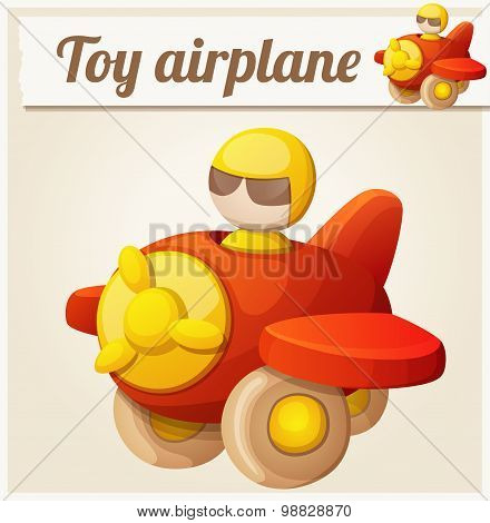 Red toy airplane. Cartoon vector illustration. Series of children's toys