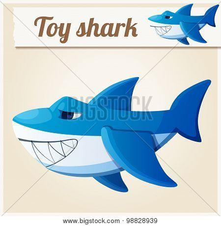 Toy shark. Cartoon vector illustration. Series of children's toys