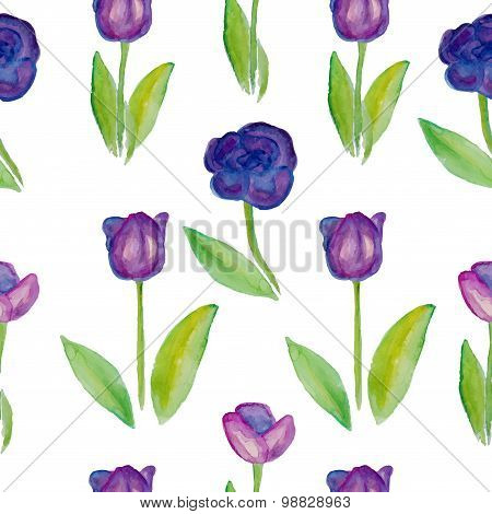 Floral seamless pattern Tulips (violet flowers with green leafs).