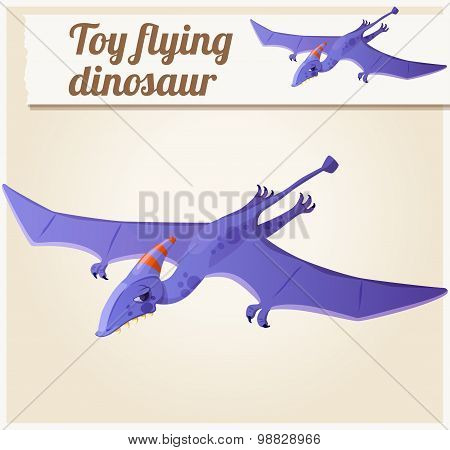 Toy flying dinosaur 5. Cartoon vector illustration. Series of children's toys