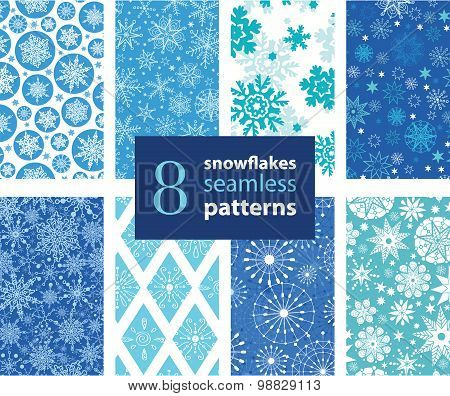 Vector Snowflakes Hand Drawn 8 Set Seamless Pattern