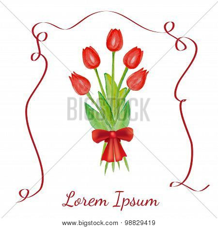 Tulips bouquet with red ribbon.