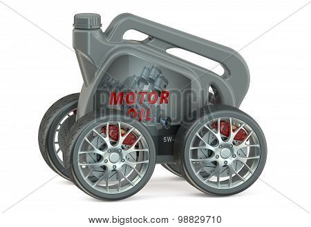 Motor Oil Canister With Wheels