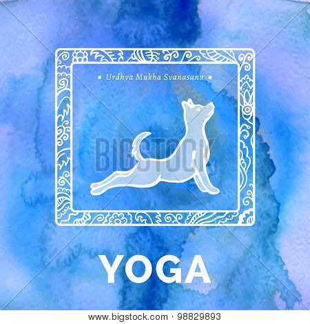 Yoga poster with dog in an yoga pose.