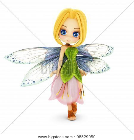 Cute toon fairy with wings smiling on a white isolated background.
