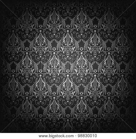 Vector illustration of black damask seamless pattern.