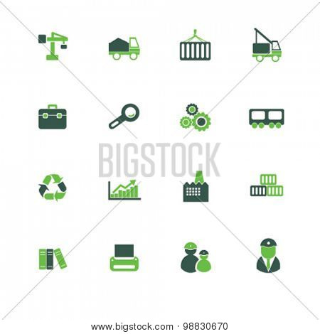 factory, logistics icons, signs, illustrations