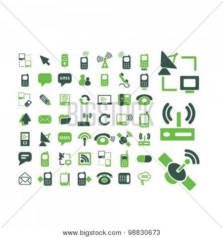 communication, technology, connection icons, signs, illustrations