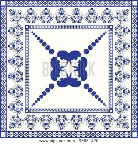 Mediterranean traditional blue and white tile pattern.