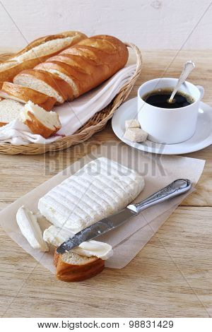 Goat Cheese, Baguette And Coffee