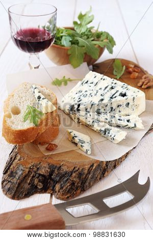 Roquefort Blue Cheese And Wineglass