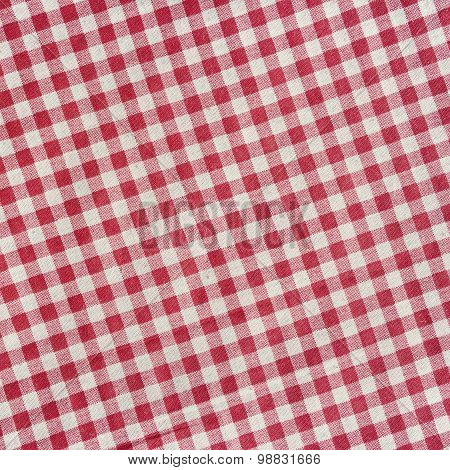 Red Checkered Tablecloth Background.
