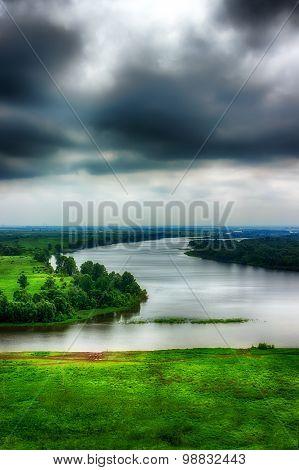 River Kama Evening Storm Clouds Top View Of Tatarstan, Yelabuga Russia