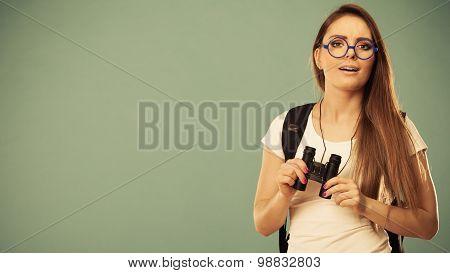 Tourist Woman With Binocular