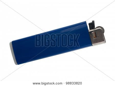 Blue lighter on a white background