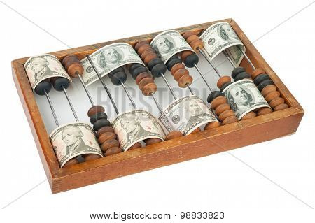 Old wooden abacus with dollars