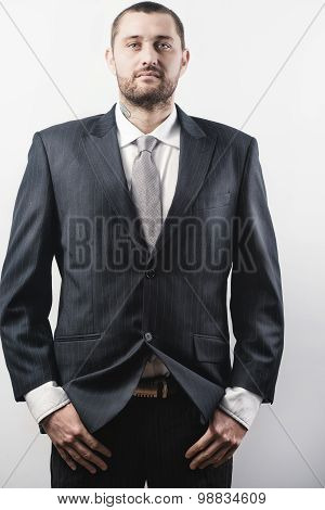 Cinematic style studio portrait of a man