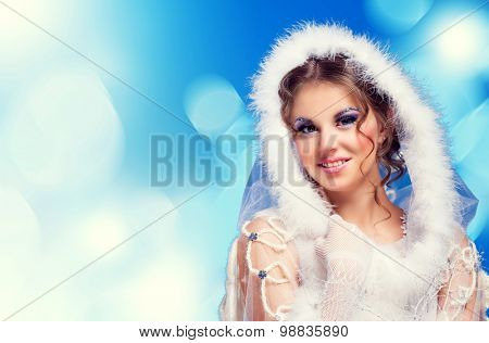 beautiful woman against colorful  background, Christmas topic