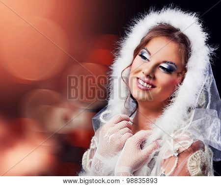 beautiful woman against red colourfu background, Christmas topic