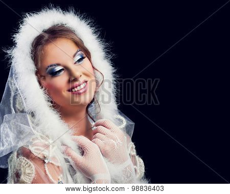beautiful woman against red colourful background, Christmas topic