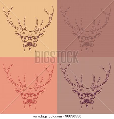 deer head hipster style with glasses and mustache engraving vintage illustration hand drawn