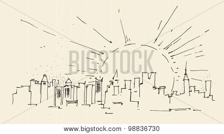 sunrise in New York city architecture, vintage engraved illustration, hand drawn, sketch
