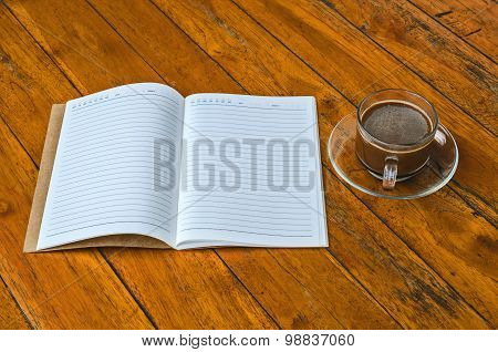 Cup Of Coffee With Book Blank