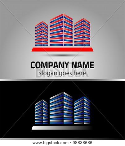 Vector office building icon isolated, logo for company isolated