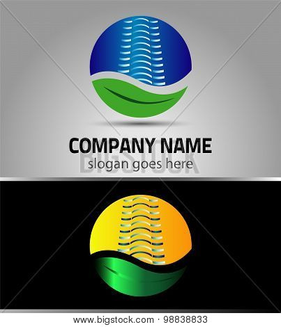 Green City eco logo building template. Ecology concept icon. Business realty. Real estate. Natural l