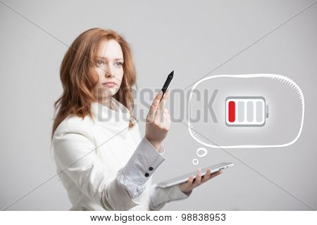 Young Businesswoman holding tablet and pen, battery level icon