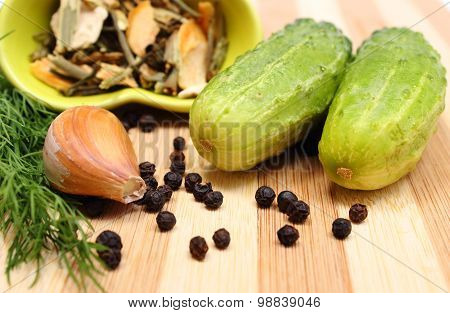 Green Cucumbers And Spices For Pickling