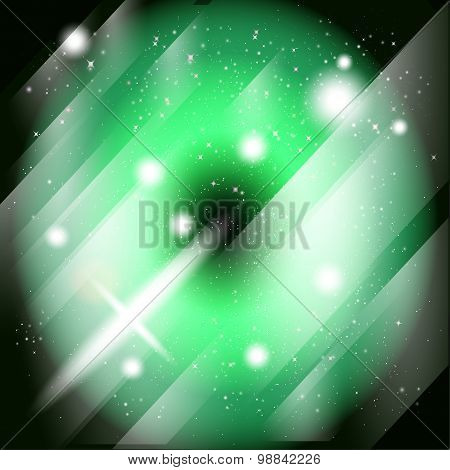 Green Stage with star. Vector illustration