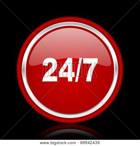 24/7 red glossy web icon  chrome design on black background with reflection