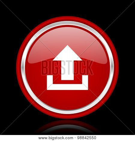 upload red glossy web icon chrome design on black background with reflection