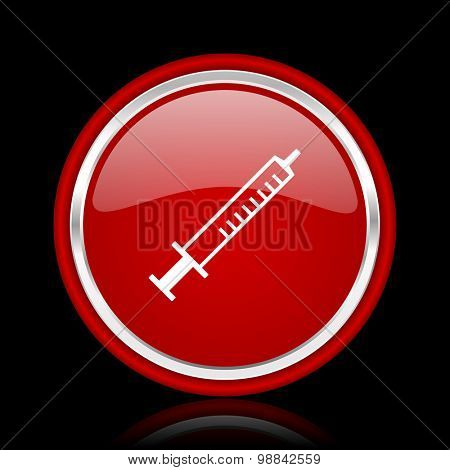 medicine red glossy web icon chrome design on black background with reflection