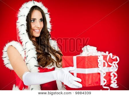 Beautiful Santa Woman With Present