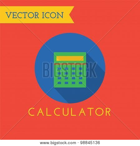 Green flat calculator logo icon. Money and finance. Back to school.
