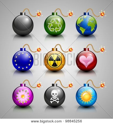Burning Bomb Icons