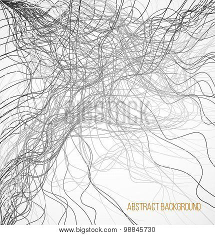 Absract background with black chaotic lines