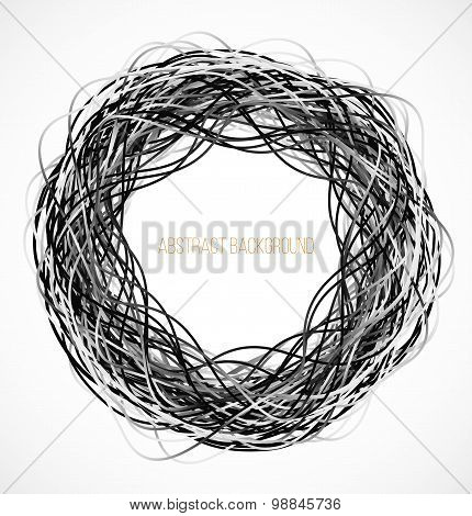 Absract black circle background with lines