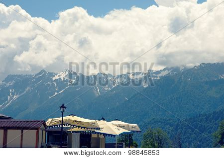 View on the mountains from Rosa Khutor Alpine Resort