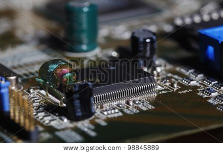 large computer bug, virus, jumping over computers circuit-board and microchips, internet-crash