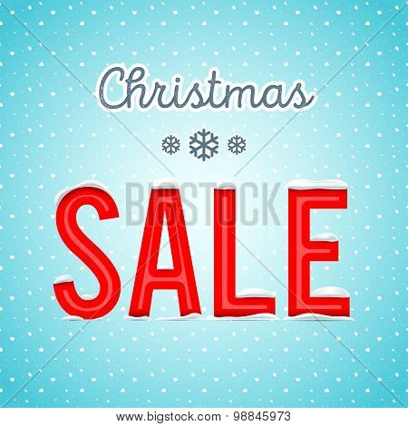 Vector. Creative Christmas sale poster with a blue background wi