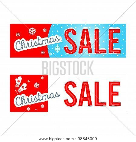 Vector. A set of creative templates and banners Christmas sale b