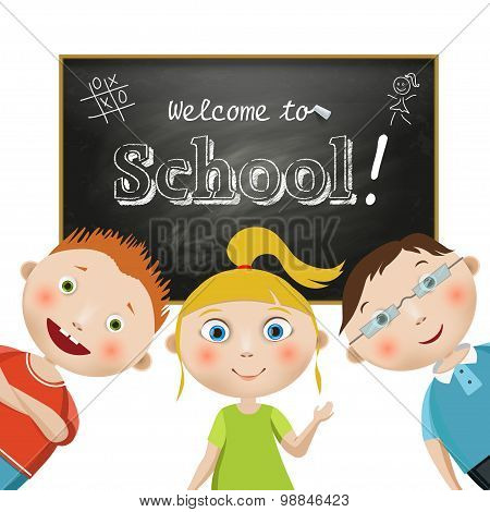 Vector. Composition with students on a school blackboard background with a freehand drawning text, W