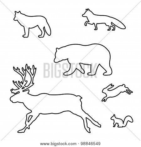 Set of silhouettes of wild animals.