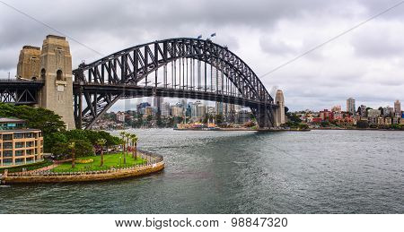The Sydney Harbour Bridge is a steel through arch bridge across Sydney Harbour